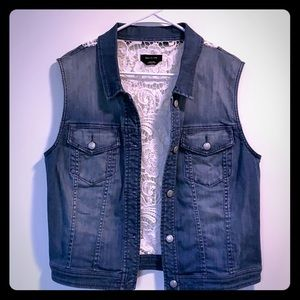 Bebe stretch jean and crochet back vest